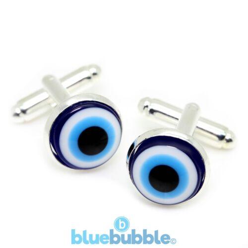 Bluebubble EVIL EYES Glass Eye Ball Cufflinks Funky Fun Novelty Cool Emo Alien