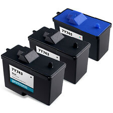 3pk for Dell 7Y743 Black Ink and Dell 7Y745 Series 2 Color Ink Cartridge