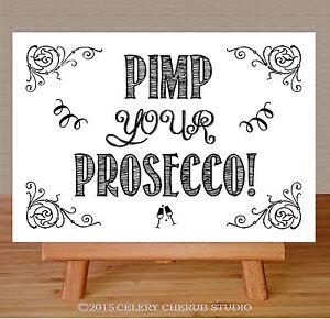 Black /& White Lights Chalkboard Effect Pimp Your Prosecco Wedding Sign Print