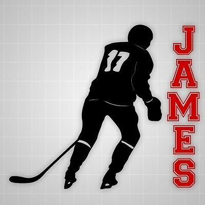 Hockey player wall decals,vinyl youth Hockey wall silhouette sticker name decal
