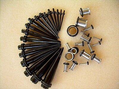 Pair Black Tapers & Pair Steel Ear Plugs Tunnels Kit Set Combo Pick Size