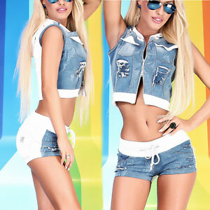 2 Teiler Weste Short Hotpants Anzug Jeans Hose Outfit Risse Hot 34