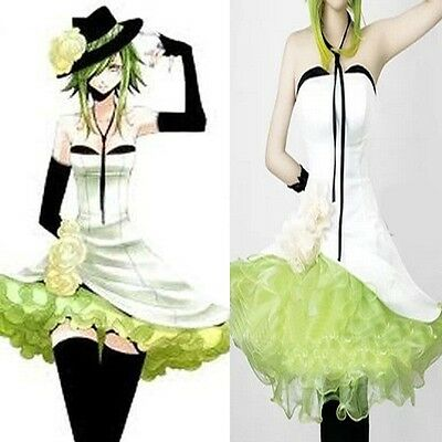 Hot Sell!VOCALOID2 GUMI White Mix Green Dress Full Set Cosplay Costume