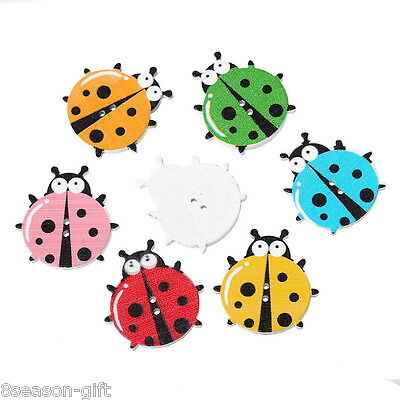 50PCs Wooden Buttons Beetle Shaped Mixed Color 2-hole Sewing Scrapbook DIY