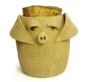 HANDMADE-ART-POTTERY-STONEWARE-UGLY-FACE-PIG-PIGGY-COOKIE-JAR-8-5-034-TALL-W-CORK