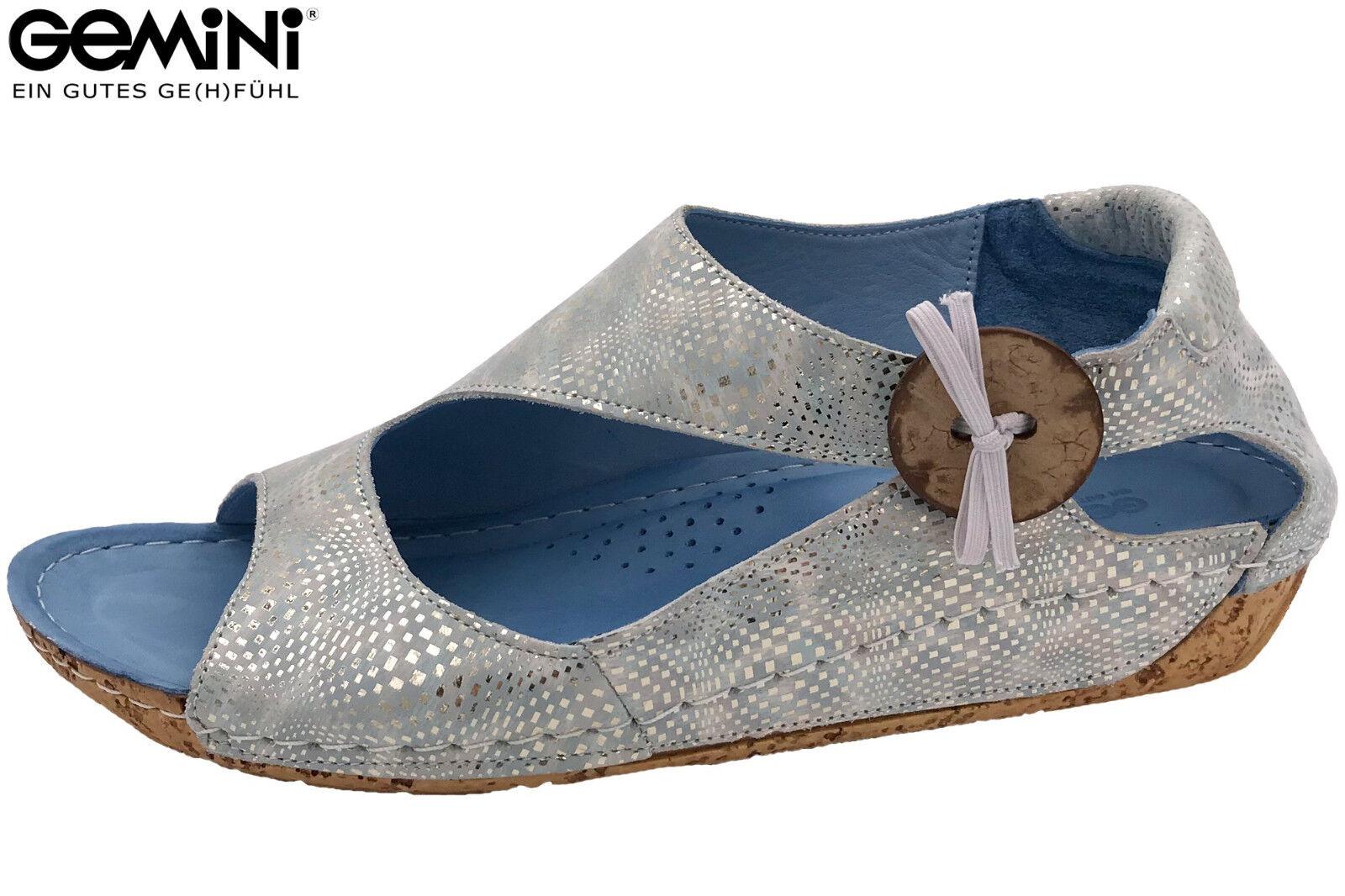 Gemini Damen Sandalee Blau Grau Metallic Leder Sommer Schuhe 32029-800 NEU