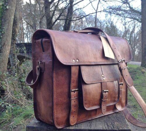 Handmade Briefcase Messenger Satchel Shoulder Vintage Leather Bag Men/'s Brown