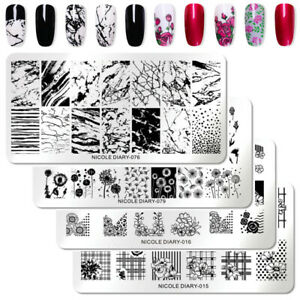 NICOLE-DIARY-Nail-Stamping-Plates-Dandelion-Rose-Geometry-French-Stamp-Templates