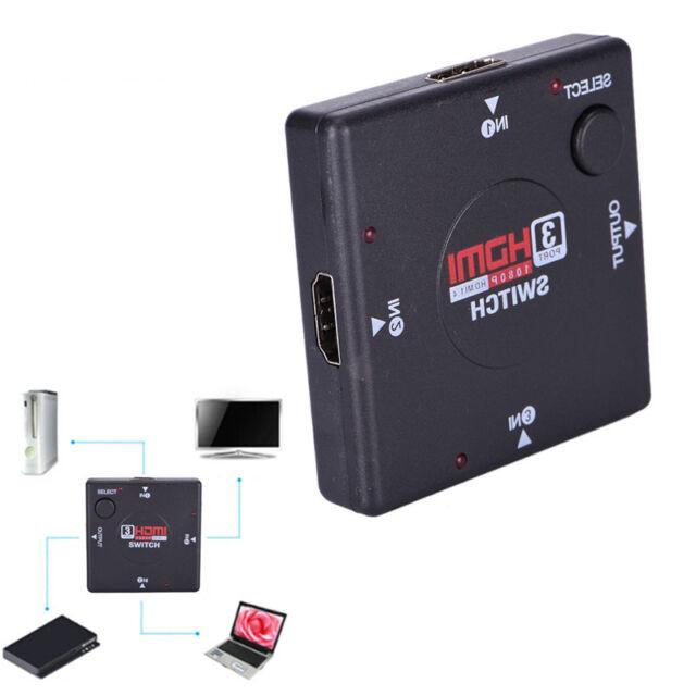 3 IN 1 OUT Splitter 3 Port 1080P Video HDMI HD Converter Switcher HDTV DVD Ni M