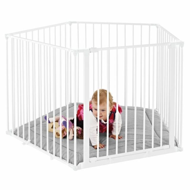 BabyDan Five Side Park-a-kid Playpen Metal Toddler Playpen with Grey Mat -White