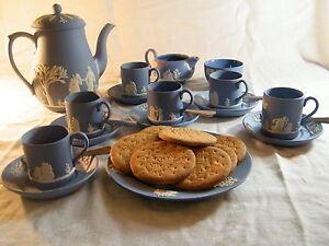 Magnificent-034-Wedgwood-Blue-Jasper-Ware-034-22-piece-Coffee-Set-Beautiful