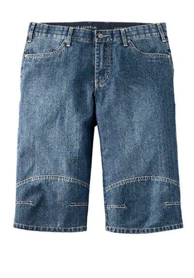 Nuovo Uomo Corti Jeans Bermude Elasticizzato Bauchschnitt Hose Blu Taglie 82