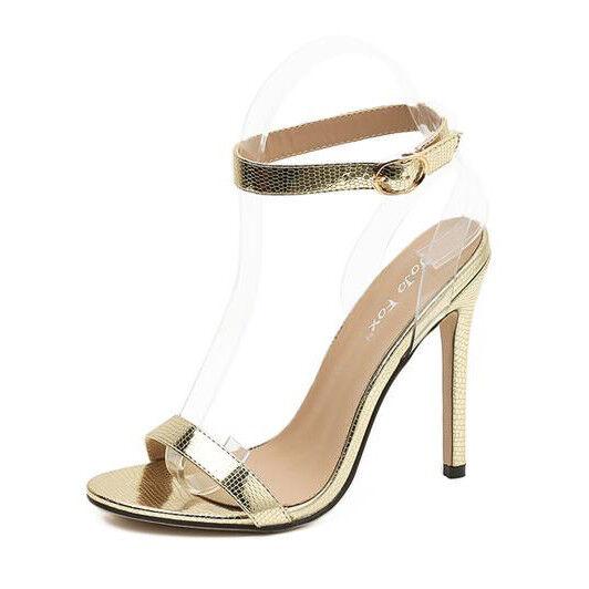 Sandalei eleganti tacco stiletto simil 11 cm oro comodi simil stiletto pelle eleganti 9774 f4e8f8