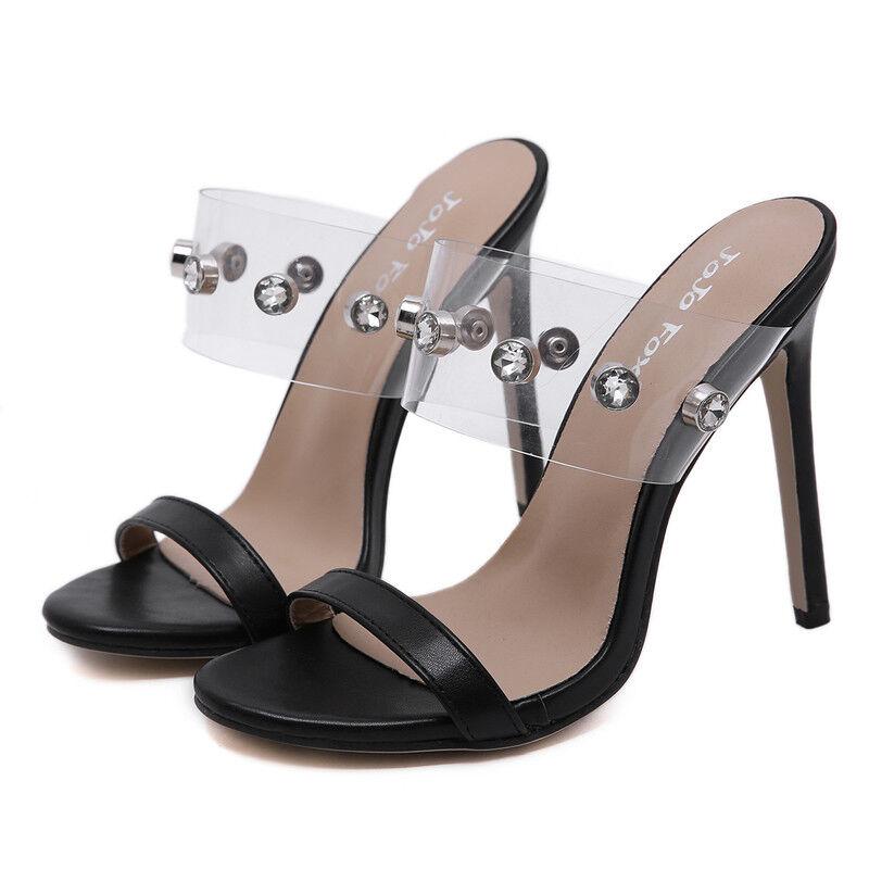 Sandali stiletto 12 12 12 cm negro trasparente tacco spillo simil pelle eleganti 1586  comprar barato