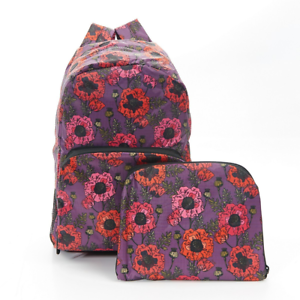 Eco-Chic Foldable Expandable Backpack Lightweight Waterproof Poppies Purple