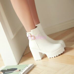 Womens High Block Heel Buckle Belt Zip Ankle Boots Round Toe Platform Plus Size
