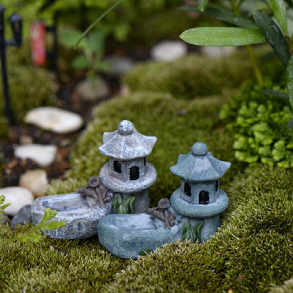 Mini Retro Pond Tower Craft Fairy Garden Decor Figurines Toys Micro Landscape JA