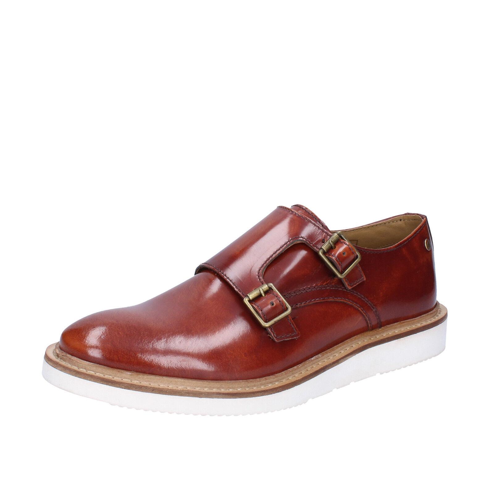 Mens shoes BASE LONDON 9 (EU 43) elegant brown shiny leather  BZ428-E