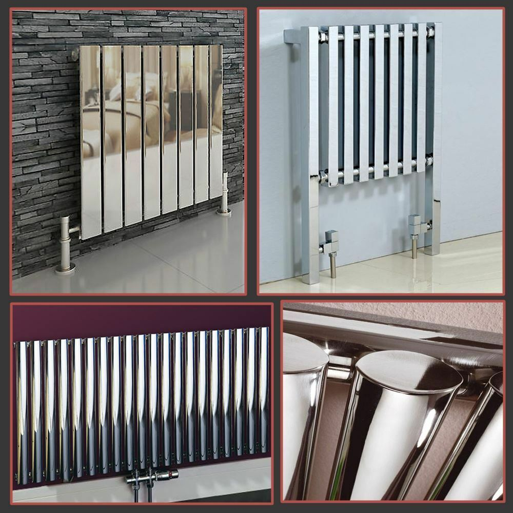 Horizontal Chrome Designer Radiators Oval Tube & Flat Panel Central Heating Rads