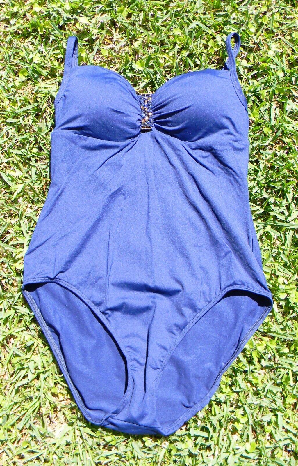 Lauren Ralph Lauren Sexy Swimsuit Navy bluee gold Embellished Stones - Womens 12