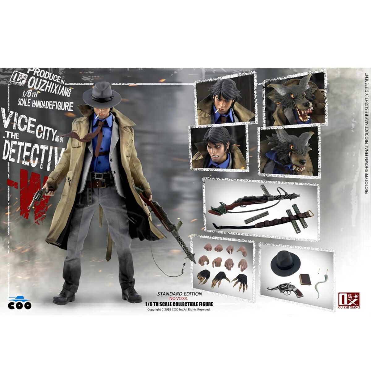 1 6 COOMODEL X OUZHIXIANG VC001 Vice City The Detective W 12  Action Figure Toys