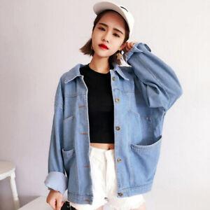 Women-Demin-Jacket-Oversize-Jacket-Loose-Casual-Denim-Jeans-Coat-Outwear-ES