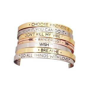 Image Is Loading Uk Motivation Positive Word Cuff Bracelet Jewellery Gift