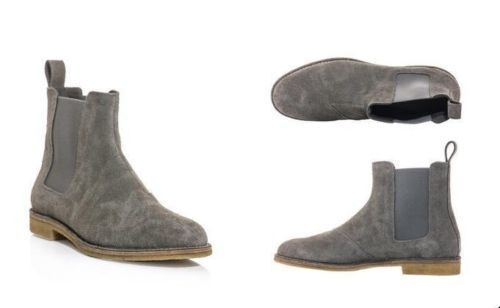 MEN HANDMADE GREY SUEDE LEATHER HUNTER CHELSEA CUSTOM MADE Schuhe FOR MEN