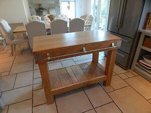 Large Kitchen Butchers Block : Large ENGLISH OAK butchers block kitchen island table storage furniture rustic eBay