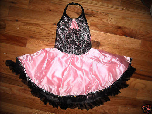 NEW DANCE COSTUME TAP LACE SATIN PINK BLACK GIRLS