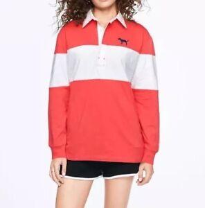 Rosa Trendy Manica Secret Lunga Camicia Polo Maglietta Rugby Victoria's w5RFqZ