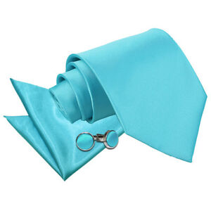 DQT-Saten-Azul-Huevo-llano-solido-Robin-039-s-Corbata-Panuelo-Gemelos-Cenido-Ajustado-Clasico