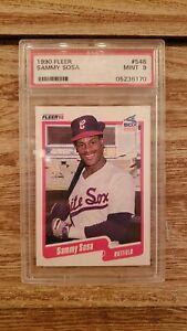 SAMMY-SOSA-RC-1990-FLEER-BASEBALL-CARD-548-GRADED-MINT-PSA9-WHITE-SOX-OF-RC