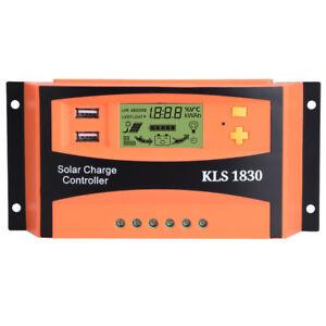 10 A 30 A 12V//24V Panneau Solaire Chargeur Batterie du contrôleur régulateur USB LCD RS