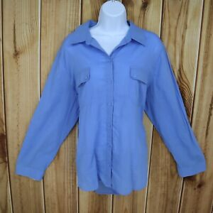 Chico-039-s-Top-Button-Up-Shirt-Womens-Size-3-Blue-100-Cotton-Pockets-Long-Sleeve