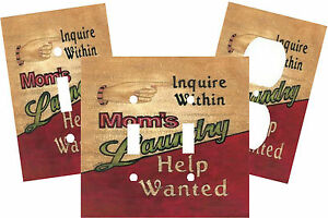 LAUNDRY ROOM MOM HELP WANTED LIGHT SWITCH PLATE COVER HOME