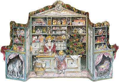 """Nostalgischer Adventskalender /""""Kaufladen/"""" zum Aufstellen ca 47 x 25 cm Glitzer"""