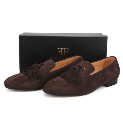 Men FERUCCI Dark Brown Suede Slippers Loafers Flat With Big Brown Tassel