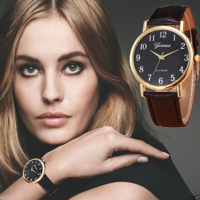 Ladies Fashion Gold Geneva Quartz Platinum Range Leather Band Wrist Watch.
