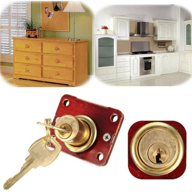 Drawer Dead Bolt Lock Drawers Box Cabinet Cupboards Panel Two Keys Convenient