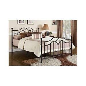 full size bed frame bronze metal footboard headboard modern bedroom furniture ebay. Black Bedroom Furniture Sets. Home Design Ideas