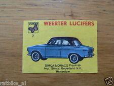 07 WEERTER LUCIFERS SIMCA MONACO ,MATCHBOX LABELS,ETIKETTEN