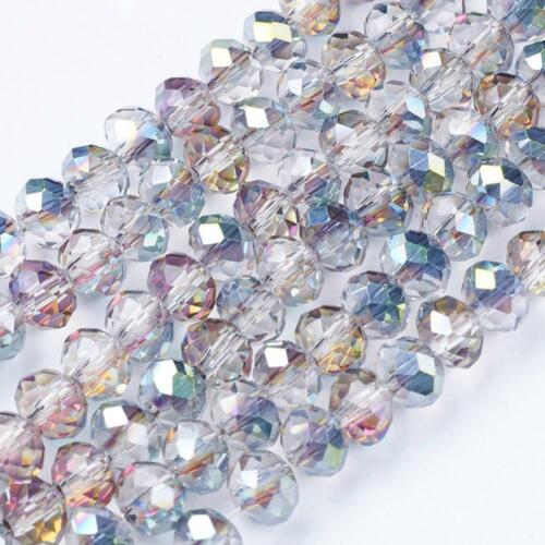 6mm Rainbow Electroplate Glass Beads Abacus Rondelle Facetted Hole 1mm 100pcs