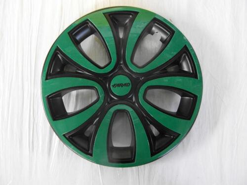 """4 Copricerchi auto universali FARAD coppa borchia ruota nero e verde 16/"""""""
