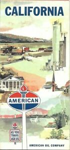 1962-AMERICAN-OIL-Road-Map-CALIFORNIA-Route-66-Los-Angeles-Sacramento-San-Diego