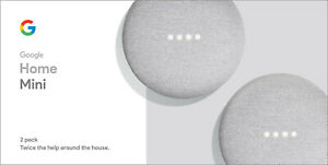 NEW-Google-Home-Mini-Smart-Speaker-with-Google-Assistant-Chalk-2-Pack