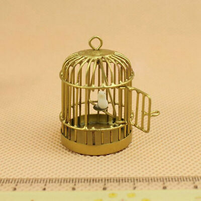 Metal Bird Gold Cage w White Bird For 112 Dollhouse Miniature Set Kids Q3T2