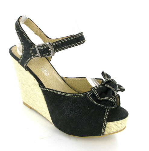 BLACK CANVAS WEDGE BUCKLE STRAP BOW SUMMER SANDALS WOMENS UK3-8