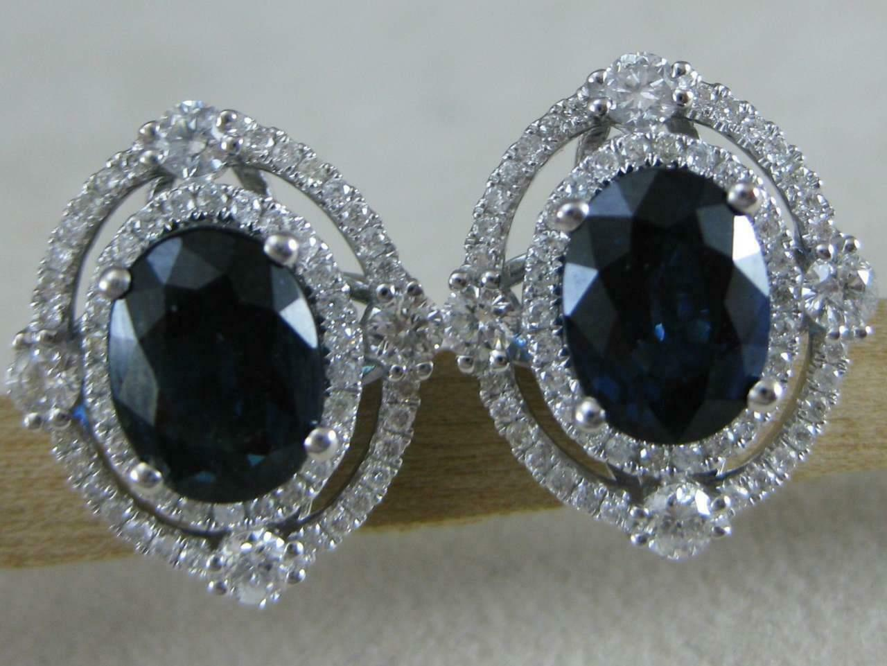 ESTATE 4.11CTW DIAMOND SAPPHIRE 14KT W gold PAVE HALO CLUSTER EARRINGS