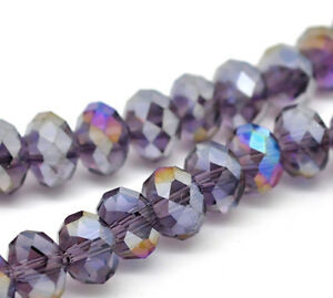 1-STRAND-72-PURPLE-AB-CRYSTAL-FACETED-RONDELLE-BEADS-8mm-Bracelets-43A